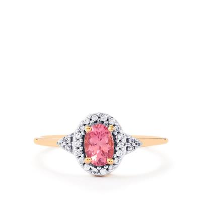 PINK SPINEL RING WITH WHITE ZIRCON ROSE GOLD