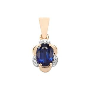 Daha Kyanite Pendant with White Zircon in 10k Gold 1.59cts