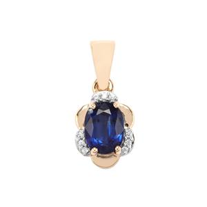 Daha Kyanite Pendant with White Zircon in 9K Gold 1.59cts