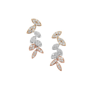 1/3ct Diamond 9K Three Tone Gold Earrings