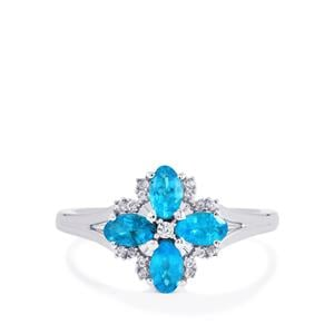 Neon Apatite Ring with White Zircon in Sterling Silver 1cts