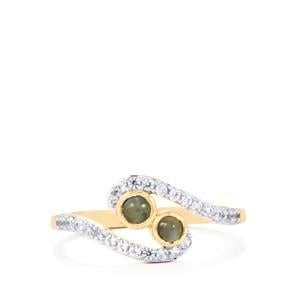 Cats Eye Alexandrite & White Zircon 10K Gold Ring ATGW 0.66cts