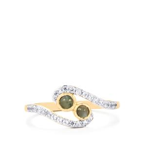 Cats Eye Alexandrite Ring with White Zircon in 10k Gold 0.66cts