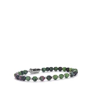 Ruby-Zoisite Bracelet with Magnetic Lock in Sterling Silver 51.63cts