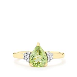 Cuprian Tourmaline Ring with Diamond in 18k Gold 1.60cts