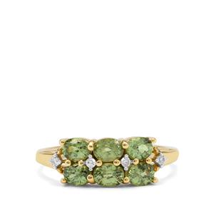 Namibian Demantoid Garnet Ring with Diamond in 9K Gold 1.50cts