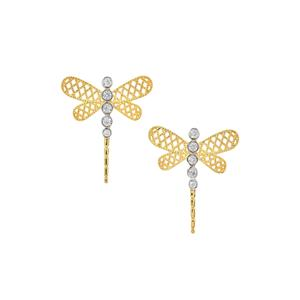 White Zircon Dragon Fly Earrings in Two Tone Gold Plated Sterling Silver 0.48ct