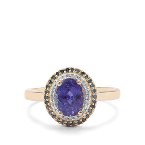 AAA Tanzanite Ring with Blue & White Diamond in 9K Gold 1.86cts