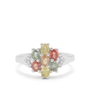 Songea Rainbow Sapphire & White Zircon Sterling Silver Ring ATGW 1.74cts