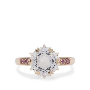 Wobito Snowflake Cut White Topaz Ring with Bahia Amethyst in 9K Gold 5.60cts