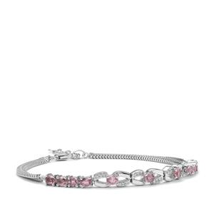 Sakaraha Pink Sapphire Bracelet with White Zircon in Sterling Silver 2.56cts
