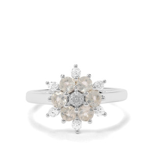 Plush Diamond Sunstone & White Zircon Sterling Silver Ring ATGW 0.86ct