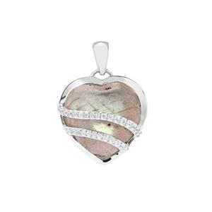 Labradorite Heart Pendant with White Zircon in Sterling Silver 13.03cts