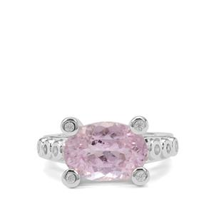 Brazilian Kunzite Ring with White Zircon in Sterling Silver 8.51cts