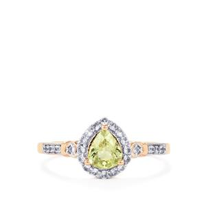 Mozambique Mint Tourmaline Ring with White Zircon in 10K Gold 0.77ct
