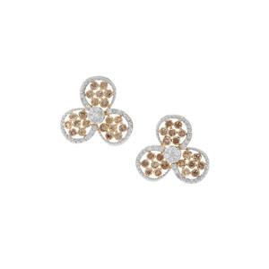 1ct Champagne & White Diamond 9K Gold Earrings