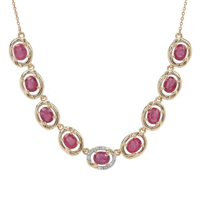 Patiala Thai Ruby & Diamond 9K Gold Tomas Rae Necklace ATGW 3.58cts