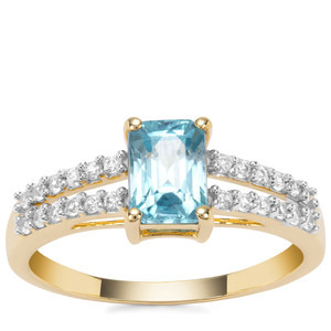 Ratanakiri Blue Zircon Ring with White Zircon in 9K Gold 1.98cts