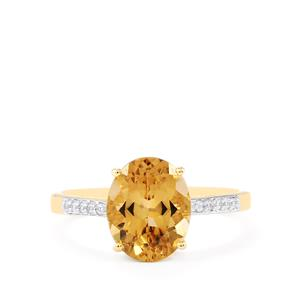 Champagne Danburite & White Zircon 10K Gold Ring ATGW 2.71cts