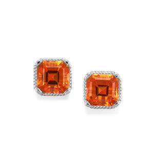 Padparadscha Quartz Asscher Cut Earrings in Sterling Silver 4.86cts