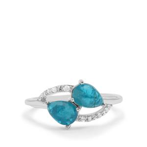 Neon Apatite & White Zircon Sterling Silver Ring ATGW 2cts