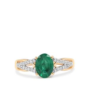 Minas Gerais Emerald & Diamond 18K Gold Tomas Rae Ring MTGW 1.19cts