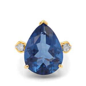 Colour Change Fluorite Ring with White Zircon in 9K Gold 19.95cts