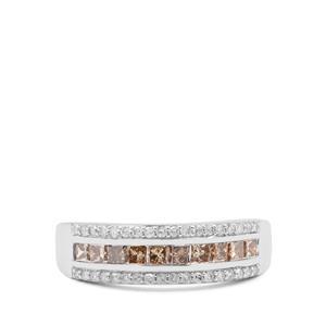 3/4ct Champagne Diamond 9K White Gold Ring