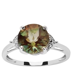 2.47ct Green Colour Change Andesine 9K White Gold Ring