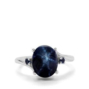 Blue Star Sapphire & Blue Sapphire Sterling Silver Ring ATGW 7.04cts