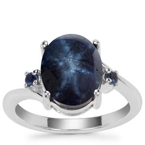 Blue Star Sapphire Ring with Blue Sapphire in Sterling Silver 7.04cts