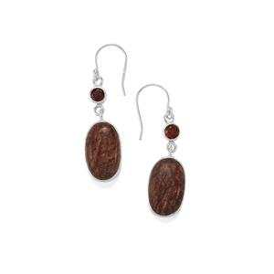 Sonora Dendrite Earrings with Nampula Garnet in Sterling Silver 20.10cts