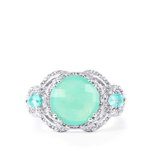 Aquaprase™, Madagascan Blue Apatite Ring with White Topaz in Sterling Silver 4.13cts