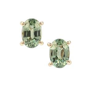 Green Sapphire Earrings in 9K Gold 1.30cts