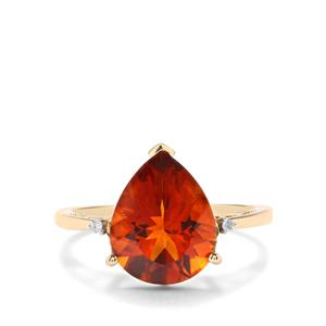Madeira Citrine Ring with Diamond in 10k Gold 3.47cts