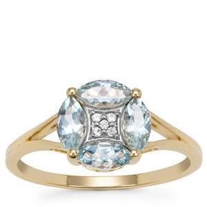 Pedra Azul Aquamarine Ring with White Zircon in 9K Gold 0.85ct