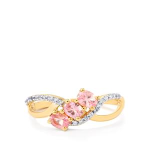 Mozambique Pink Spinel Ring with White Zircon in 10k Gold 0.79ct