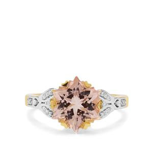 Wobito Snowflake Cut Peach Morganite Ring with Diamond in 18K Gold 4.45cts