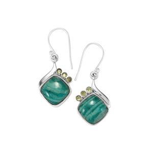 Amazonite Earrings with Changbai Peridot in Sterling Silver 13.35cts