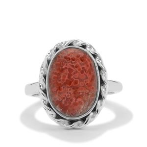 Red Horn Coral Ring in Sterling Silver 5.50cts