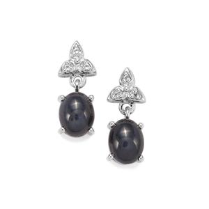 Madagascan Blue Star Sapphire Earrings with White Topaz in Sterling Silver 6.68cts