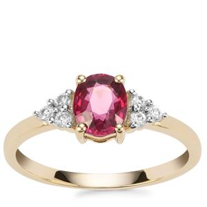 Malawi Garnet Ring with White Zircon in 10K Gold 1.31cts