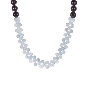 Black Onyx Necklace with Aquamarine in Sterling Silver 277.95cts