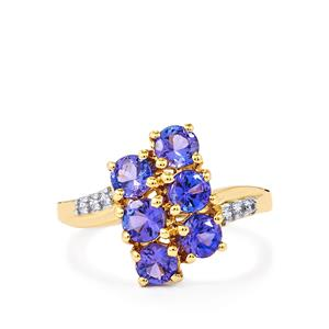 AA Tanzanite & White Zircon 10K Gold Ring ATGW 1.77cts