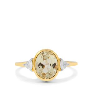 Minas Gerais Canary Kunzite Ring with White Zircon in 9K Gold 2.75cts