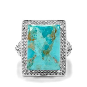 Cochise Turquoise & White Zircon Sterling Silver Ring ATGW 12.27cts