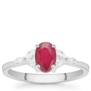 Luc Yen Ruby Ring with White Zircon in Sterling Silver 1.40cts