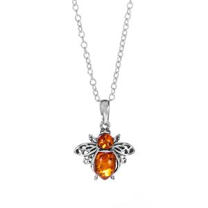Baltic Cognac Amber Necklace in Sterling Silver