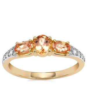 Ouro Preto Imperial Topaz Ring with White Zircon in 10K Gold 1.20cts