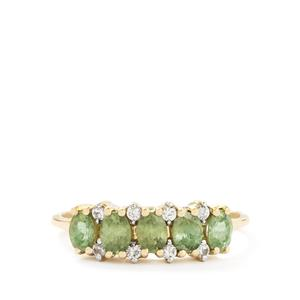 Ambanja Demantoid Garnet & White Zircon 10K Gold Ring ATGW 1.14cts